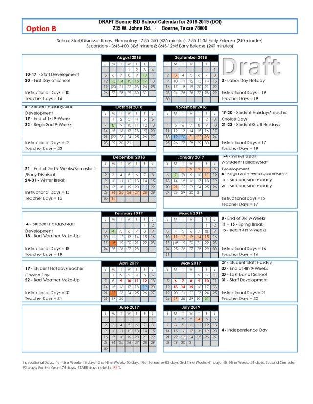 boerne isd 2018 schedule